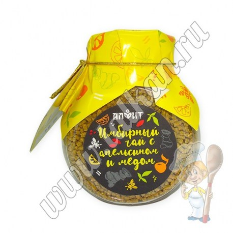 Имбирный чай с апельсином и медом, баночка